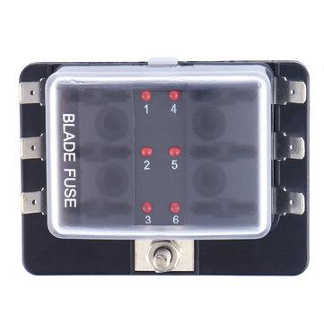 DC12V / 24V / 32V 6Way Coche barco Fusible de la hoja de automoción Caja Soporte de bloque LED Advertencia