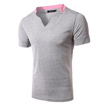 पुरुषों ग्रीष्मकालीन Splicing वी गर्दन कॉलर टी शर्ट आरामदायक ठोस रंग लघु आस्तीन Tees