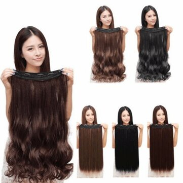 Women Clip In Hair Extensions Long Straight Curly with 5 Clips