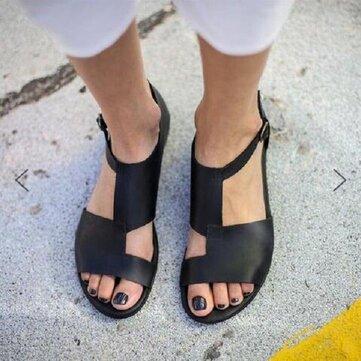 US Size 5-12 Beach Sandals Splicing Buckle Flat Sandals For Women