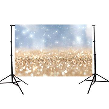 5x3FT Vinyl Golden Glitter Sequin Photography Backdrop Photo Studio Background