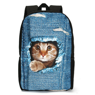 3D Cat Backpack Dog Pattern Denim School Book Bags Travel Bags