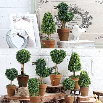 Decoración artificial del escritorio del hogar del pote del árbol del Topiary del árbol de la bola de la hierba del jardín en maceta artificial Planta