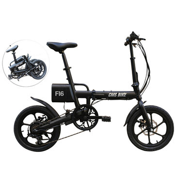 CMSBIKE F16 36V 7.8AH 250W Black 16 Inches Folding Electric Bicycle