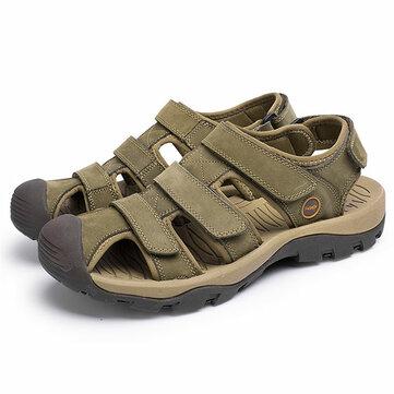 US Size 6.5-11 Men Genuine Leather Outdoor Flat Beach Sandals