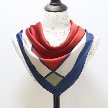Forme a vendimia la seda geométrica pequeña pañuelo las mujeres del mantón del resorte enrejado cuadrado bufanda del mantón del cuadrado