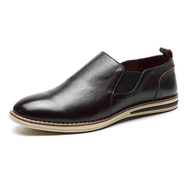 Men Genuine Leather Casual Slip Business Oxfords Shoes