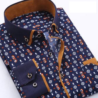 पुरुषों पोल्का डॉट ग्रिड मुद्रित फैशन लंबी आस्तीन स्लिम आरामदायक व्यापार पोशाक शर्ट