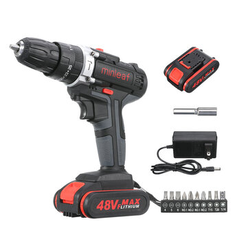 Minleaf ML-ED1 48VF Cordless Electric Impact Drill Rechargeable Drill Screwdriver W/ 2pc Li-ion Battery