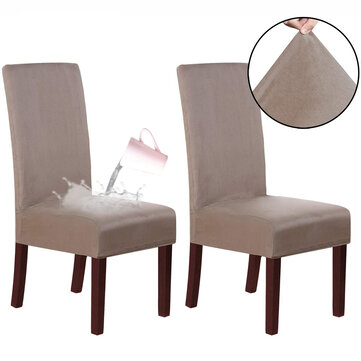 2Pcs Stretch Chair Covers Removable Waterproof Dining Chairs Protector Soft Seat Slipcover for Dining Room Wedding Banquet Party Kitchen Chair Decoration