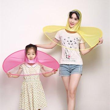 Creative Raincoat Umbrella UFO Shape Rain Hat Cap Child Adult Rain Coat Cover Transparent Umbrellas 3 Sizes for Outdoor Fishing Tour
