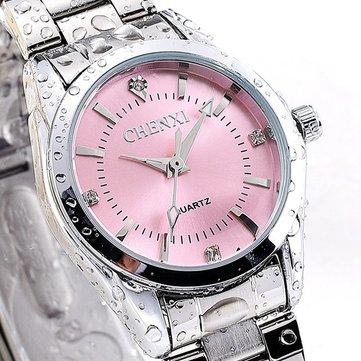 CHENXI 021B Rhinestone Fashionable Women Watches Stainless Steel Strap Quartz Watches