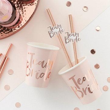 <b>10pcs</b> team bride straws rose gold diy craft with letter hen ...
