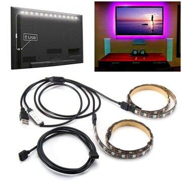 2PCS 50センチメートル5V 5050防水RGB USB LEDストリップライトバーテレビの背景パーティーライティングキット