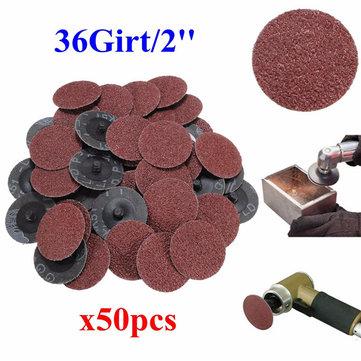 50pcs 36 Grit 2 Inch 50mm Roll Lock Sanding Discs Abrasive Tool for Dremel