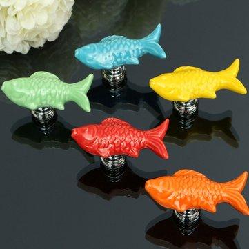 Goldfish Ceramic Knobs Door Furniture Handle Cupboard Cabinet Drawer Pull