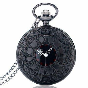 DEFFRUN P427 Retro Punk Style Roman Number Jewelry Collection Quartz Chain Pocket Watch