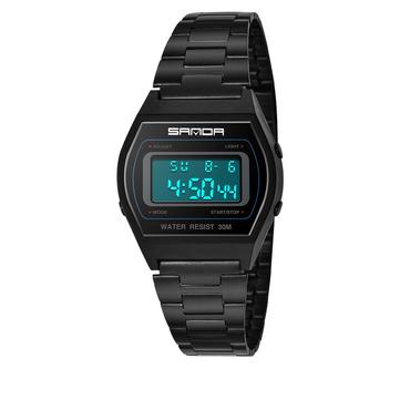 Đồng hồ kỹ thuật số SANDA 406 Đàn ông thời trang thép không gỉ Dây đeo lịch Đồng hồ thể thao không thấm nước