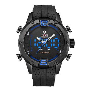 WEIDE WH7301 Çift Ekran Dijital İzle Rahat Silikon Kayış LED Alarm Takvimi Spor İzle
