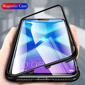 Huawei Honor 8X के लिए बाकी फ्लिप 360 ° चुंबकीय सोखना धातु टेम्पर्ड ग्लास सुरक्षात्मक मामले