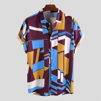 МодаColorfulКонтрастнаяцветнаяпечатьСвободные повседневные рубашки