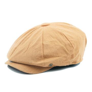 Unisex Men Women Vintage Gentle Cotton Beret Hats Casual Solid Color Painter Forward Caps