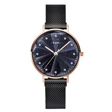 SINOBI 9793 Star Crystal Luxury Petal Shape Cutting Dial Women Full Steel Fashion Quartz Watch