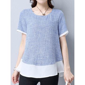 सुरुचिपूर्ण महिला लघु आस्तीन कंट्रास्ट रंग पैचवर्क टी शर्ट