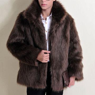 Abrigo de piel sintética con estilo de invierno para hombre, grueso, cálido, color sólido, chaqueta informal