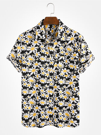 Mens Fashion Daisy Floral Printing Cotton Breathable Turn Down Collar Casual Shirts