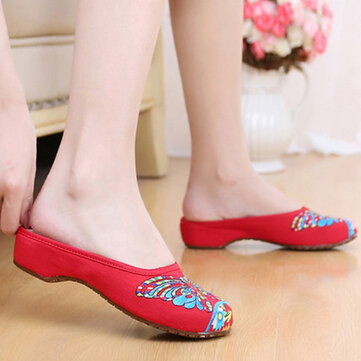 Butterfly Knot Embroidery National Wind Retro Colorful Open Heel Slip On Flat Slipper Shoes