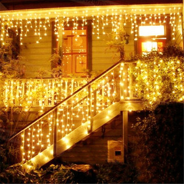 Christmas 4M 96 LED Indoor Outdoor String Lights 110-220V Curtain Icicle Drop LED Party Garden Stage Decorative Light