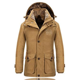 पुरुषों शीतकालीन मोटी हुड डिटेक्टेबल स्टैंड कॉलर ठोस रंग कोट पॉलिएस्टर आरामदायक आउटडोर जैकेट