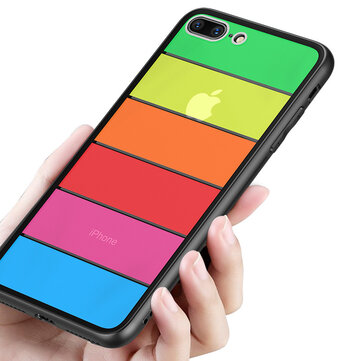 Bakeey Rainbow Scratch Resistant Tempered Glass Back Cover TPU Frame Protective Case For iPhone 8/8 Plus/7/7 Plus/6/6 Plus/6s/6s Plus