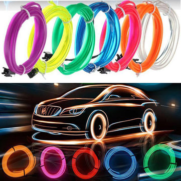 5M Led Flexible EL Wire Neon Glow Light Rope Strip 12V For Christmas Holiday Party