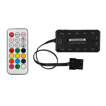 Coolmoon 12V RGB Cooling Fan Remote Control Controller Switching Adjustable Brightness Speed of Fan