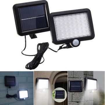 Solar Power 56 White LED PIR Motion Sensor Inundação Wall Light Waterproof Outdoor Garden Security Lamp