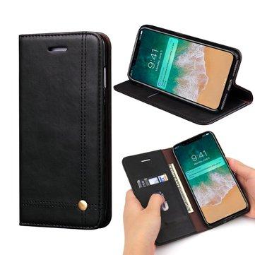 Vintage Magnetisk Flip Wallet Card Slot Kickstand Case For iPhone X