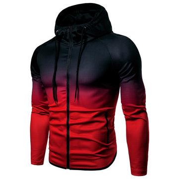 पुरुषों ग्रेडियेंट स्लिम फ़िट जिपर धीरे-धीरे रंग बदलना रंग आरामदायक खेल हूडीज स्वेटशर्ट
