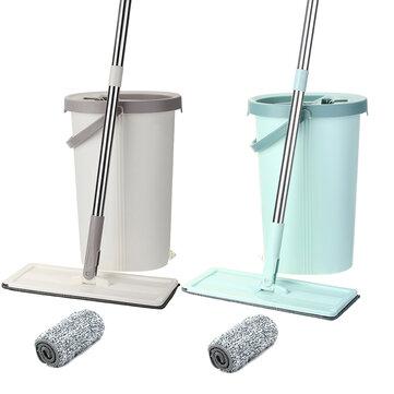 Ultrafine Magic Floor Mop Flat Bucket Mops Fiber Cleaning Free Hand Spin Washing - Cyan