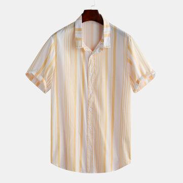Herr Classic Mode Sommar Casual Kortärmad Stripade Skjortor