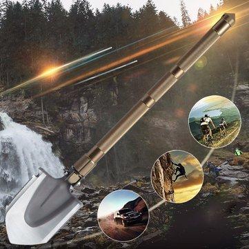 DANIU Portable Multifunctional Outdoor Survival Folding Shovel Vehicle Garden Shovel Aluminum Alloy Handle