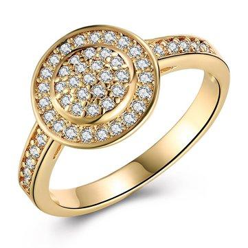 INALIS Cobre chapado en oro Mujer anillos de compromiso de circon Boda anillo de regalo de la joyería