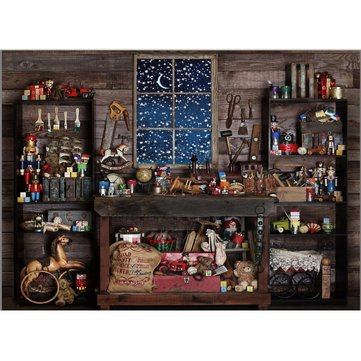 7x5FT Christmas Theme Small Shop Gift Doll Tools Wooden Window Photography Background Backdrop