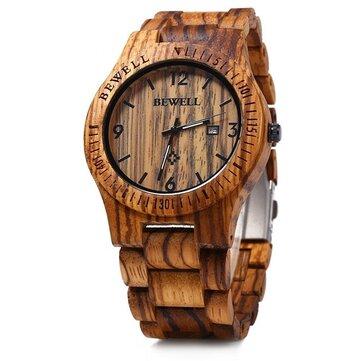 BEWELL ZS-W086B Men Natural Wooden Auto Calendar Display Fashion Quartz Wrist Watch