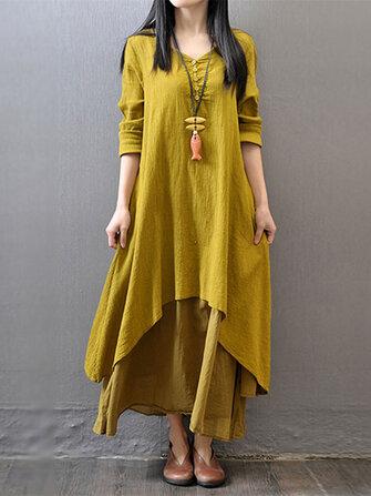 Kadın Uzun Kollu Çift Kat Düğmesi Asimetrik Vintage Maxi Elbise