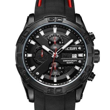 MEGIR 2055 Sport Watch Men Kuarsa Chronograph Black Pria Jam Tangan