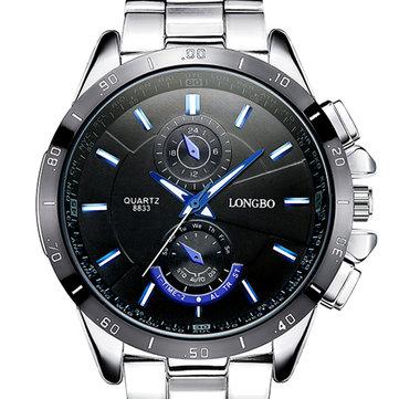 LONGBO 8833 Men Watch Luminous Stainless Steel Fashion Casual Quartz Wrist Watch