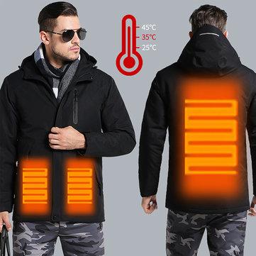 Hombre Mujer Chaqueta térmica USB USB Calentador inteligente Trabajo con capucha Moto Esquí Escudo de equitación