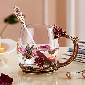 Enamel Glass Rose Flower Tea Cup Set Spoon Coffee Cup Cold Drinks Mug